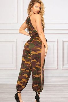 3e658d41b90 Army-green Camouflage High Neck Split Tied Waist Sexy Jumpsuit