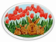 Peggy Karr Glass Handmade Fused Glass in Rabbits pattern