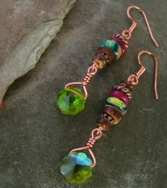 Long Dangle Bohemian Styled Earrings Green Crystal