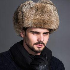 45301b0cbb3 Men Winter Warm Faux Fur Bomber Hats Male Black Brown Solid Thicken Earflap  Cap  mensfashion
