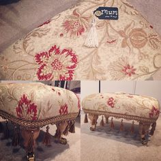 Latest footstool on its way for Mothering Sunday. This one in same gorgeous Gold and Deep Red Jacquard I made last time with a bronze bead fringe and caldron legs with brass castors. Footstools made to order to customer's specifications. £150 for this one.