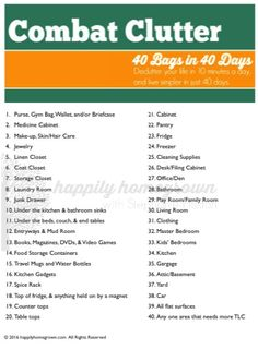 40 Bags in 40 Days - Its time to combat clutter! Just 10 minutes a day, and live simpler in just 40 days!
