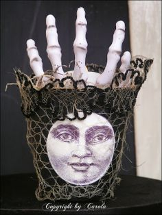Altered Peat Pot with Skeleton Hand by Boxwood Cottage