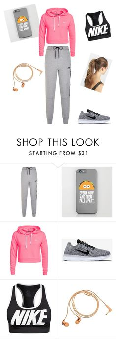 """jogging"" by nikkiabela ❤ liked on Polyvore featuring NIKE, Only Play, Happy Plugs and France Luxe"