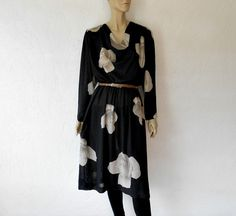 Vintage Dress 80's Rose Print Draped Floral Shift by luvofvintage, $32.00