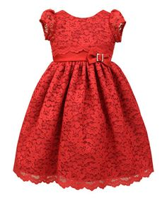 Look what I found on #zulily! Red Lace Cap-Sleeve Dress - Infant, Toddler & Girls #zulilyfinds