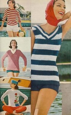 Vogue Knitting 1960 Five Summer Sun Patterns - Boy Short Bathing Suit, V-Neck Sweater, Boat Neck and Yarn Weight Chart, Vogue Knitting, Hand Knitting, Summer Sun, Spring Summer, Crochet Hook Sizes, Vintage Knitting, Boy Shorts, Vintage Patterns