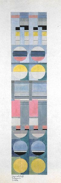Gunta Stölzl Design for Jacquard woven curtain material Signed on back: 'G.Stölzl' Inscribed lower left: 'Jacquardstoff 1 Rapport 2 Chöre' 1926/27 68.5 x25 cm Victoria & Albert Museum, London