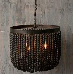 AntiqueFarmHouse Wood Bead Chandelier-Black | http://www.antiquefarmhouse.com/wood-bead-chandelier-black.html?source=webgains&siteid=73669