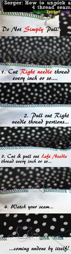 Best Serger Tension Tips (Bonus: Unpick it! How to unpick a serger seam or 4 thread overlock) the right way! Pin it for future reference ;) And all the pics of a 4 thread seam with wrong tensions and HOw-TO FIX THEM! Sewing Basics, Sewing Hacks, Sewing Tutorials, Sewing Tips, Sewing Ideas, Serger Projects, Sewing Projects For Beginners, Techniques Couture, Sewing Techniques