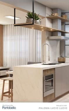 Kitchen, In this project, kitchen and living room are integrated with predominance of neutral tones. A porcelain countertop, which reproduces white marble with. Open Plan Kitchen Living Room, Kitchen Room Design, Modern Kitchen Design, Home Decor Kitchen, Kitchen Interior, Home Kitchens, Diy Kitchen Storage, Diy Kitchen Cabinets, New Home Designs