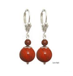 Jasper Red 10mm Round, 925 Sterling Silver Earring - Handmade - Natural Stones Jewelry -   FREE SHIPPING de ArtGemStones en Etsy