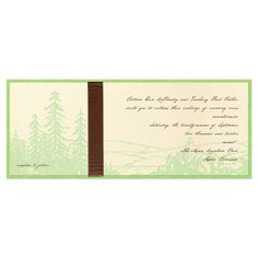 Woodland - Wedding Invitation with Outdoor design. Green backing card with ribbon