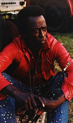 """Miles Davis in Red Leather Jacket, Isle of Wight"", 1970 Photo : Jim Marshall"