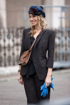 But of course an Hermes satchel (Photos: Best-Dressed Street Style at Paris Fall Fashion Week 2013