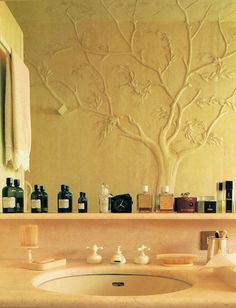 Bas relief on bathroom wall of Mariuccia Mandelli and Aldo Pinto of the Italian fashion house, Krizia…