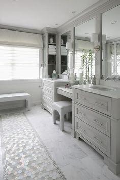 Bathroom tiles, master bathroom layout, light grey bathrooms, master bath v Master Bathroom Vanity, Master Bathroom Layout, Master Bathrooms, Bathroom With Makeup Vanity, Bathroom Gray, Vanity Decor, Master Bath Tile, Modern Bathroom, Gray Vanity