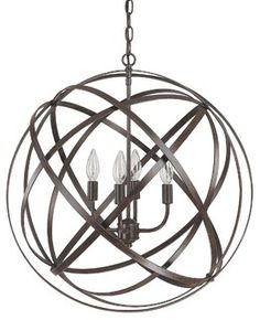 Rotating metal straps in an industrial inspired bronze finish, orbit around four candle lights. Straps can rotate to create unique looks or form a globe