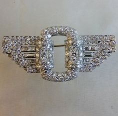 Art Deco , ca 1935 diamond brooch in platinum. Un marked, probably French. Measurements:59 x 30mm