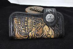Handmade black leather punk Halley skull carved biker wallet Long wallet clutch for men