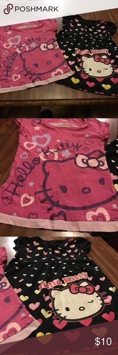 Hello Kitty Lot of 2 shirts Hello Kitty Lot of 2 shirts, worn condition, small pin hole in pink one, size 6 both Hello Kitty Shirts & Tops