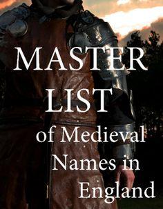 Master List of Medieval Names In England.    bryndonovan.com