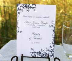 Custom floral and vine inspired signature drink sign for your wedding reception. | Invitations by Ajalon | invitationsbyajalon.com