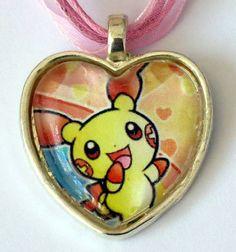 Plusle Pokemon necklace made from upcycled by CharmingSushi