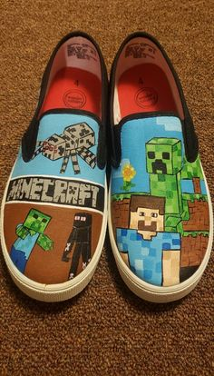 Please read:Minecraft hand painted shoesMaterials: canvas shoes, acrylic paint, textile mediumShips only within the US from Williamsburg Va.Old Navy, Target and  Van's brand are always white so if you want the rest of the shoe painted black or another color please indicate so in the notes when ordering. Old Navy Toddler sizes (recommended):They are an all white shoe which means 1-2 coats of paint. No cracking of paint will occur. They do have a blue strip on the front of the toes of the rubber s All White Shoes, White Canvas Shoes, Painted Canvas Shoes, I Love My Shoes, Hand Painted Shoes, Painted Clothes, Minecraft Shoes, Minecraft Ideas, Sonic Shoes