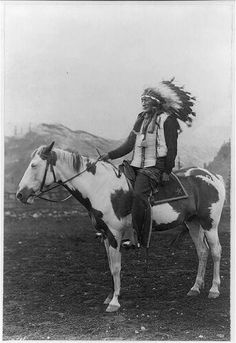 Iron Shell Wild West show portrait. Photograph shows Iron Shell on horseback wearing full headdress, bone necklace, and traditional clothing. Glasier, F. (Frederick W. Native American Beauty, Native American Photos, Native American History, Native American Indians, Sioux, Wild West Show, Eskimo, Indian Horses, Cowboys And Indians