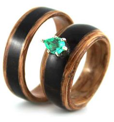 Eco-friendly Wood Rings. Simply Wood Rings.  Mine will be Rosewood with Mother of Pearl; so beautiful!
