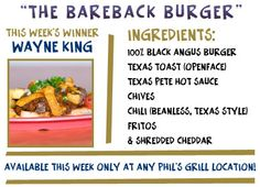 We take a bite out of the Cowboys with the Bareback burger! This black angus burger is topped with Texas Pete hot sauce, chives, Texas-style chili, Fritos & cheddar. All over a piece of open-faced Texas toast!
