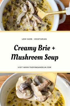 Creamy, earthy, and delicious, this soup hits all the notes for a perfect fall/winter soup! Creamy Mushroom Soup, Creamy Mushrooms, Stuffed Mushrooms, Unique Recipes, Other Recipes, Meat Substitutes, Winter Soups, Hot Soup, Vegetarian Keto