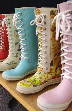 Colorfull rubber rainboots for sale in Begen, Norway Floral Boots, Snow Boots, Rubber Rain Boots, Combat Boots, Stock Photos, Bergen, Norway, Cute, Collection