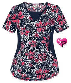 UA Tropical Delight Navy Print Scrub Top Style # STN868TN  #uniformadvantage #uascrubs #tropical #navy #scrubs #fashionscrubs