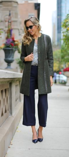 tory burch buddy watch, olive green wool coat, navy wide legged cropped pants, floral print blouse  |  http://www.theclassycubicle.com/2014/10/watch-it.html