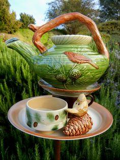 WOODLAND HIDEAWAY - Garden Art, Birdfeeder, Upcycled, Repurposed, Garden Totem, Garden Stake, Garden Sculpture, Yard Art, Teapot Art