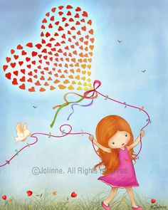 Kids art print  red head girls wall art  happy  balloon by jolinne, $16.00