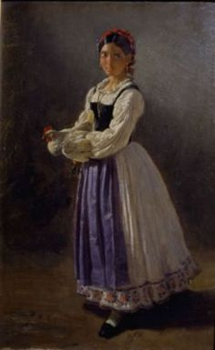 """Vasto Gallery: Filippo Palizzi, """"Figura di donna con una gallina ..."""