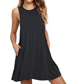 VIISHOW Women s Basic Sleeveless Pocket Casual Loose T-Shirt Dress  Type   Tank dress  Pattern Type  Plain  Neckline  Round Neck  Dress Length  Above  Knee 979824b09