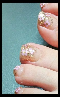 sparkly toe nail polish. I'd do silver instead of gold.
