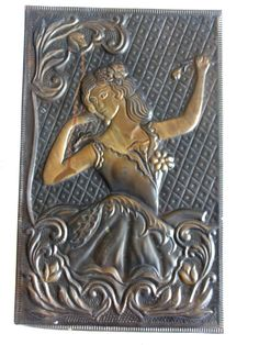 Flamenco dancer, repousse picture vintage brass 3D WALL hanging, dreamy dancing gypsy BELLE, Old embossed folk art, metal relief, home decor