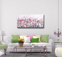 Large Panoramic Canvas Art, Floral Wall Art, Pink and Blue Abstract Meadow Print, Giclee Print, Print from Painting, Large Canvas Flower ArtThis is a lovely abstract floral meadow art canvas giclee print from one of my original paintings which I have altered digitally. The print is made to order and printed professionally on quality canvas using archival inks. The print is gallery wrapped with staples on the back. The prints will arrive stretched and ready to hang. This ca...