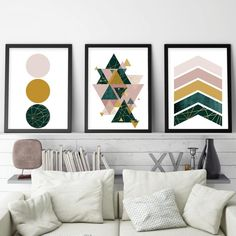 Set of 3 downloadable prints in blush pink, dark green and mustard yellow. #blushpink #printables #printableart #geometricprints #downloadableprints #geometricart #pinkgreenbedroom #pinkbedroomideas #lush pink #mustard yellow #trendingnowart #urbanepiphany