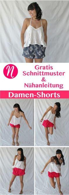 Kostenloses Schnittmuster für einen pfiffige Damenshorts zum selber nähen. PDF-Schnittmuster Gr. 2-10 ✂️ Nähtalente.de - Magazin für kostenlose Schnittmuster ✂️ Free sewing pattern for a woman shorts in Size 2 - 10.