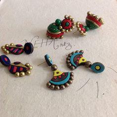 Funky Jewelry, Clay Jewelry, Beaded Jewelry, Jewelry Rings, Handmade Jewelry, Teracotta Jewellery, Diy Air Dry Clay, Terracotta Jewellery Designs, Terracotta Earrings