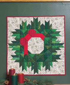 """Yuletide Wreath, 28 x 28"""",  wall quilt pattern by Cindi Wilson for Quiltmaker"""