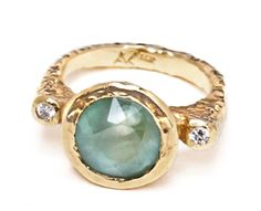 Anat Kaplan 'Anouk Jewelry' Inspiration Well Ring gold, aquamarine and diamonds I Love Jewelry, Jewelry Box, Jewelry Rings, Jewelry Accessories, Jewelry Design, Silver Jewellery, Jewlery, Custom Jewelry, Vintage Jewelry
