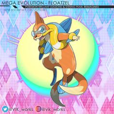 "@vik_works publicó en su perfil de Instagram: ""MEGA FLOATZEL concept for BDSP . . . . . #ポケモン #pokemon #art #anime #fanart #artworks #illustration…"" Mega Pokemon, Tweety, Princess Peach, Concept, Fan Art, Instagram, Illustration, Artworks, Anime"