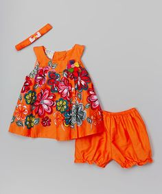 Another great find on #zulily! Orange Floral Yoke Top Set - Infant by sissymini #zulilyfinds